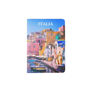Colorful Italy Fishing Port Passport Holder