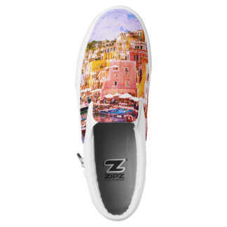Colorful Italy Vintage Art Fishing Harbor Slip-On Sneakers