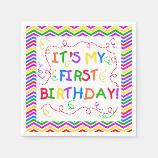 Colorful It's My 1st Birthday Paper Napkins