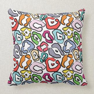 Colorful Jaguar Skin Background Throw Pillow