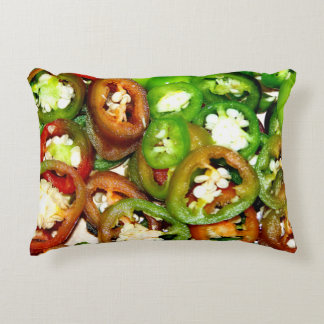 Colorful Jalapeno Pepper Slices Accent Pillow