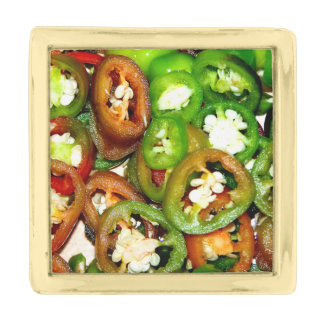 Colorful Jalapeno Pepper Slices Gold Finish Lapel Pin