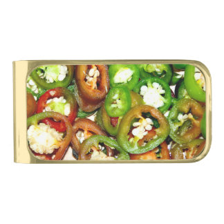 Colorful Jalapeno Pepper Slices Gold Finish Money Clip