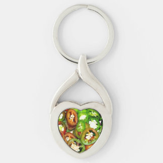Colorful Jalapeno Pepper Slices Keychain