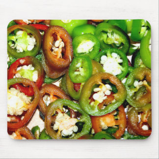 Colorful Jalapeno Pepper Slices Mouse Pads