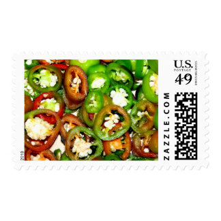 Colorful Jalapeno Pepper Slices Postage