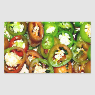 Colorful Jalapeno Pepper Slices Rectangular Sticker