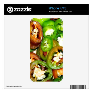 Colorful Jalapeno Pepper Slices Skin For iPhone 4