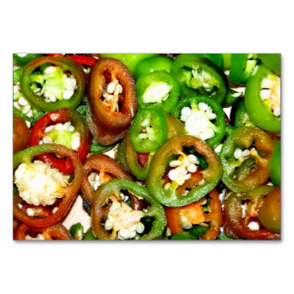Colorful Jalapeno Pepper Slices Table Card