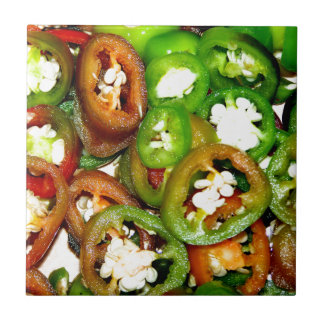 Colorful Jalapeno Pepper Slices Tile