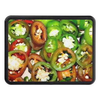 Colorful Jalapeno Pepper Slices Trailer Hitch Cover