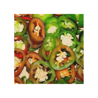 Colorful Jalapeno Pepper Slices Wood Wall Art