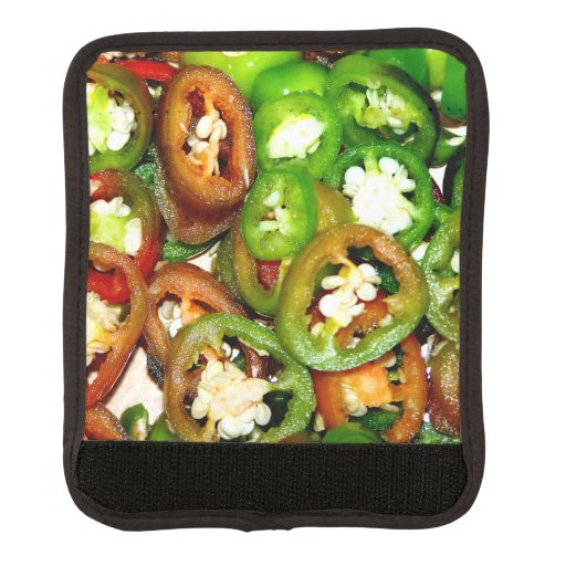 Colorful Jalapeno Pepper Slices Luggage Handle Wrap