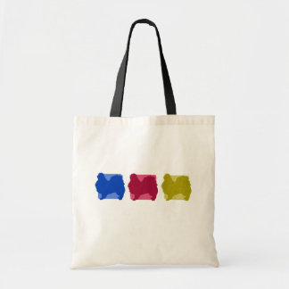 Colorful Japanese Chin Silhouettes Budget Tote Bag