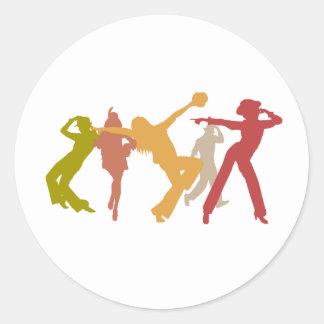 Colorful Jazz Dancers Classic Round Sticker