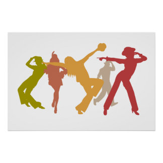 Colorful Jazz Dancers Poster
