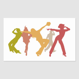 Colorful Jazz Dancers Rectangular Sticker
