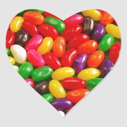 Colorful jellybean candy heart sticker