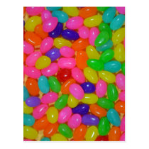Colorful jellybean candy postcard