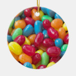 Colorful Jellybeans Double-Sided Ceramic Round Christmas Ornament