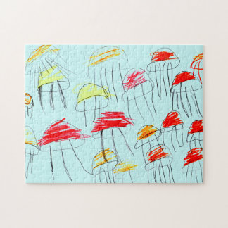 Colorful jellyfish drawn by a 5 year old girl jigsaw puzzle