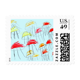 Colorful jellyfish drawn by a 5 year old girl postage