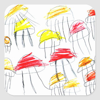 Colorful jellyfish drawn by a 5 year old girl square sticker