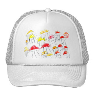 Colorful jellyfish drawn by a 5 year old girl trucker hat