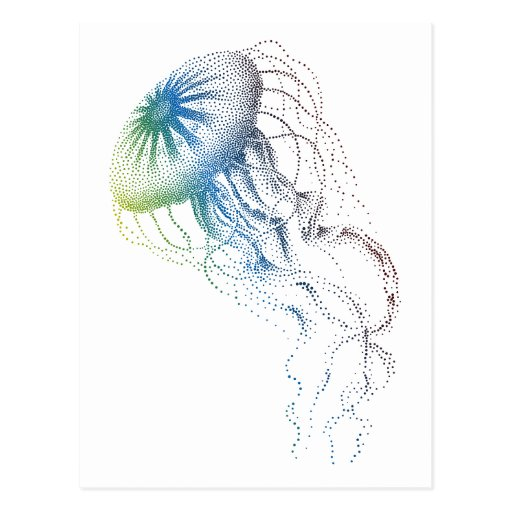 colorful jellyfish postcard
