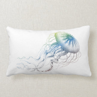 colorful jellyfish silhouette lumbar pillow