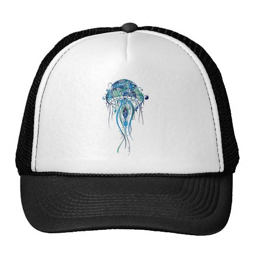 Colorful Jellyfish Tattoo Style Trucker Hats
