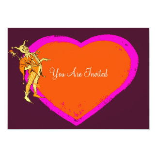 Colorful Jester And Heart 5x7 Paper Invitation Card