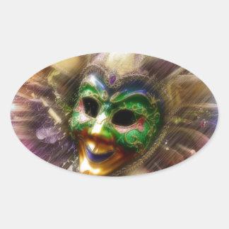 Colorful Jester Oval Sticker