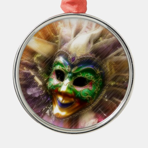 Colorful Jester Round Metal Christmas Ornament