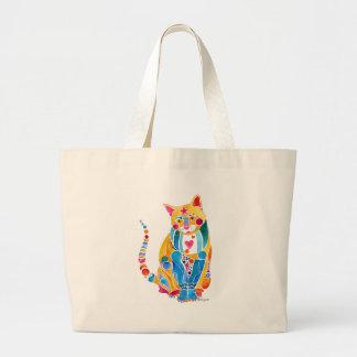 Colorful Jewel Cat Canvas Tote Bag