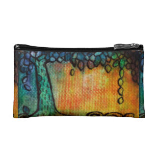Colorful Jewel Tree and Leaves Cosmetic Bag