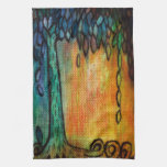Colorful Jewel Tree and Leaves Kitchen Towel
