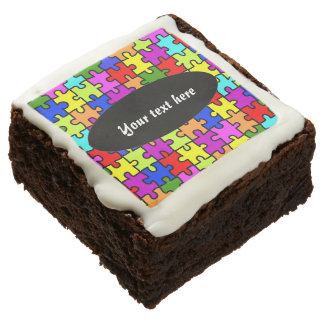Colorful jigsaw puzzle brownie