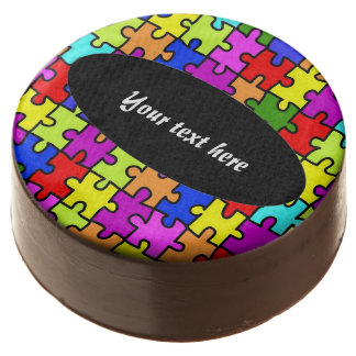 Colorful jigsaw puzzle chocolate covered oreo