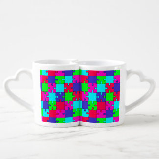 Colorful Jigsaw Puzzle Couples Coffee Mug
