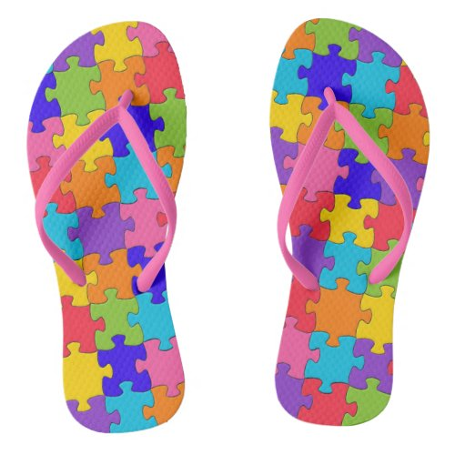 Colorful Jigsaw Puzzle Rubber Flip Flops - 2 different footbeds and 4 different strap