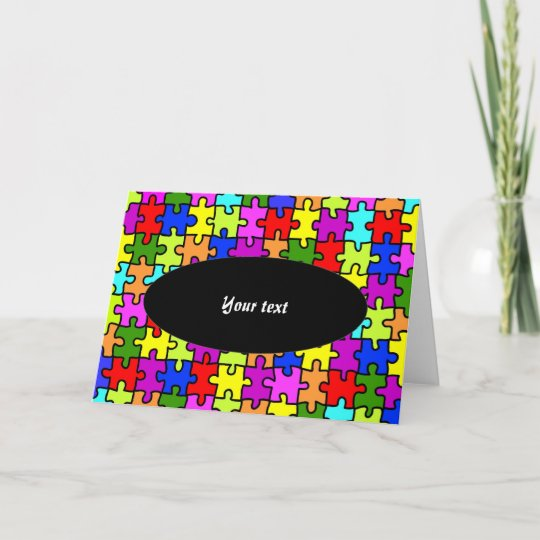 colorful jigsaw puzzle greeting card  zazzle