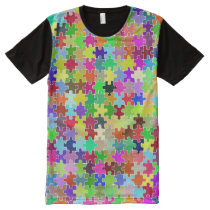 Colorful Jigsaw Puzzle Pattern All-Over-Print Shirt