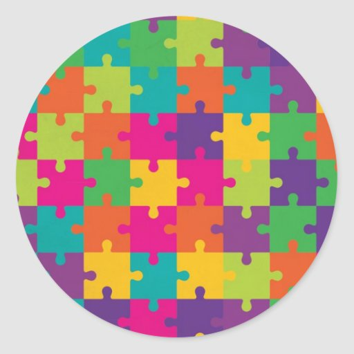 Colorful Jigsaw Puzzle Pattern Classic Round Sticker