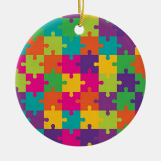 Colorful Jigsaw Puzzle Pattern Double-Sided Ceramic Round Christmas Ornament