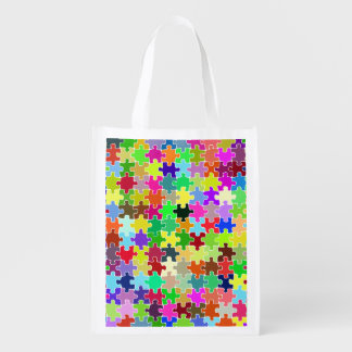 Colorful Jigsaw Puzzle Pattern Grocery Bag