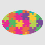 Colorful Jigsaw Puzzle Pattern Oval Sticker