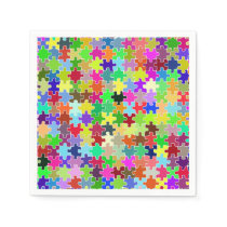 Colorful Jigsaw Puzzle Pattern Paper Napkin