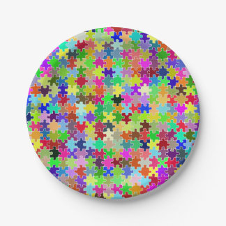 Colorful Jigsaw Puzzle Pattern Paper Plate