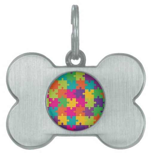 Colorful Jigsaw Puzzle Pattern Pet Tag